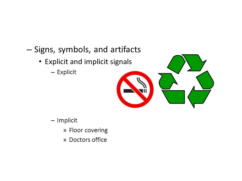 Signs, symbols, and artifacts