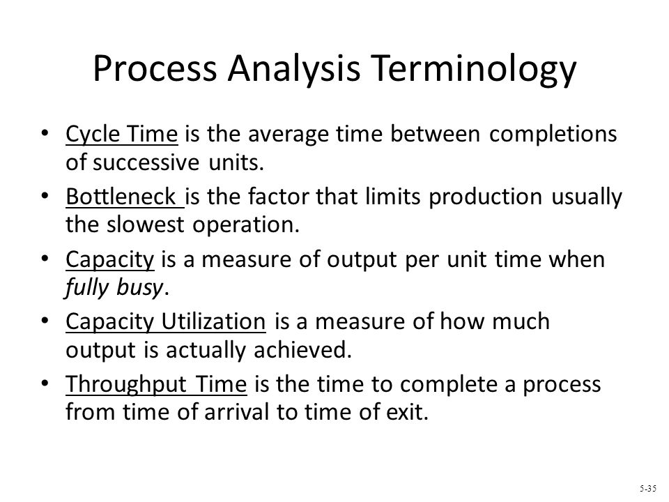 Process Analysis Terminology