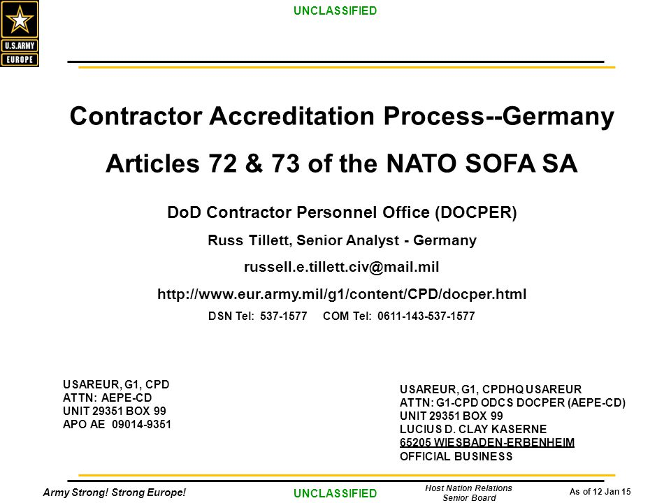 Nato Sofa Supplementary Agreement Italy Scifihitscom : SAOverview GermanyContractorAccreditationProcess Germany from www.scifihits.com size 960 x 720 jpeg 87kB