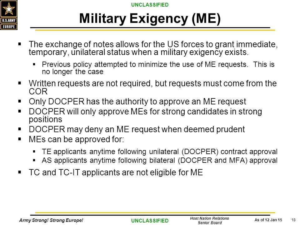 Military Exigency (ME)