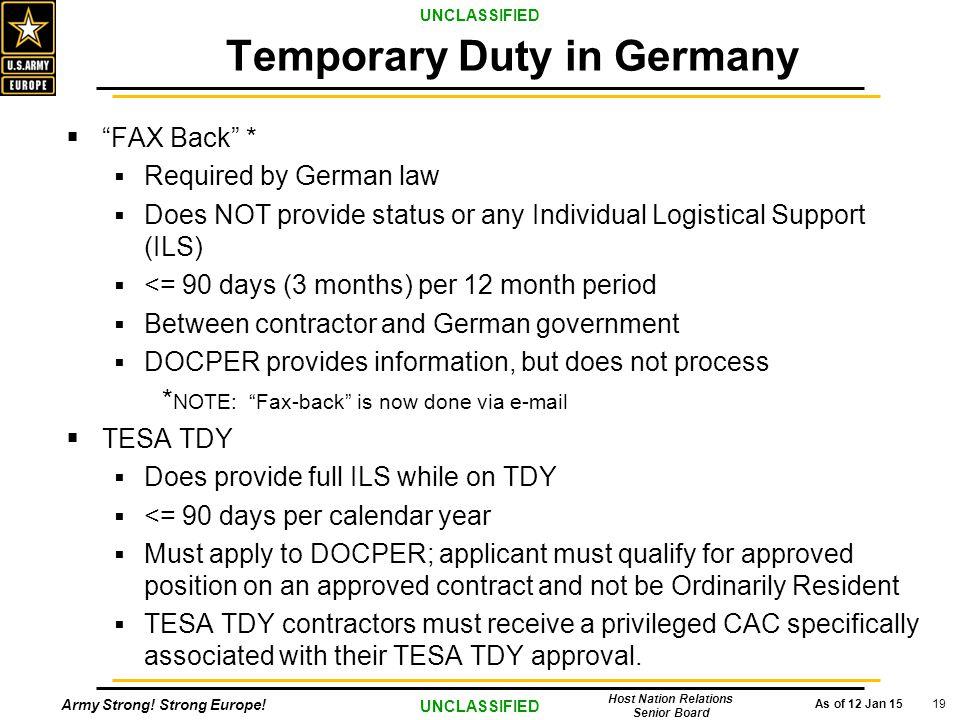 Temporary Duty in Germany