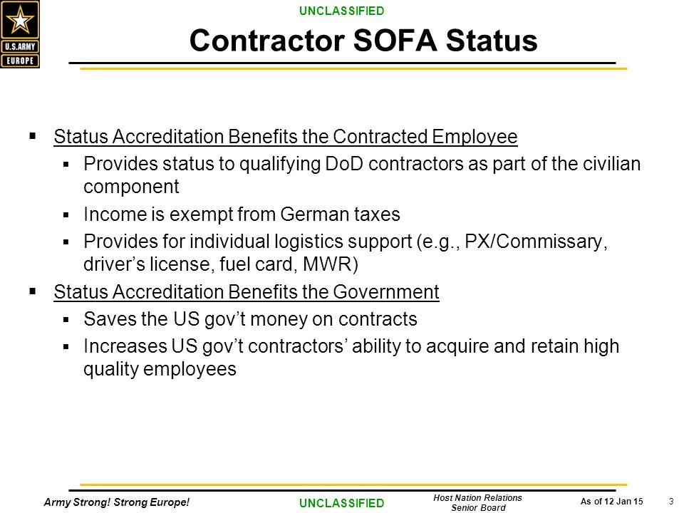 Contractor SOFA Status