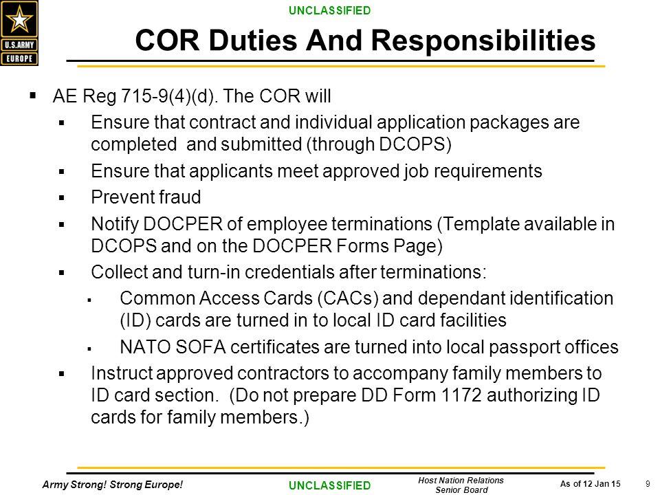 COR Duties And Responsibilities