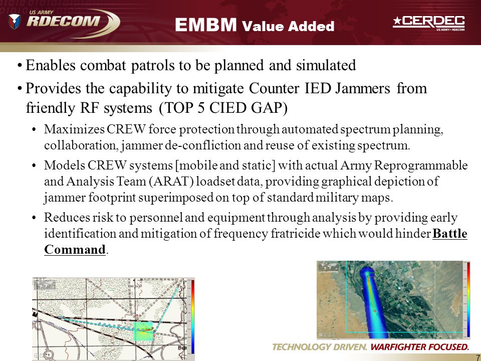 EMBM Value Added Enables combat patrols to be planned and simulated