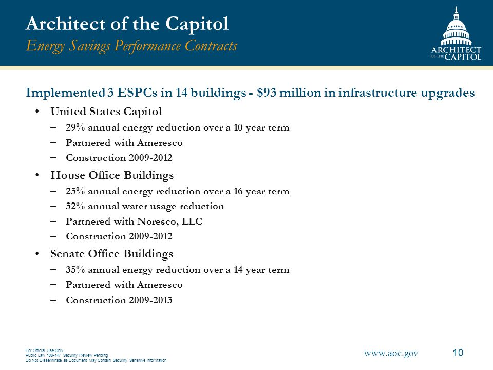 Architect of the Capitol Energy Savings Performance Contracts