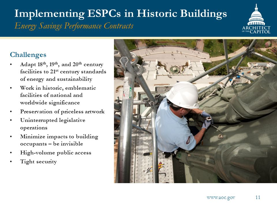 Implementing ESPCs in Historic Buildings Energy Savings Performance Contracts