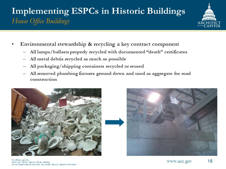 Implementing ESPCs in Historic Buildings House Office Buildings