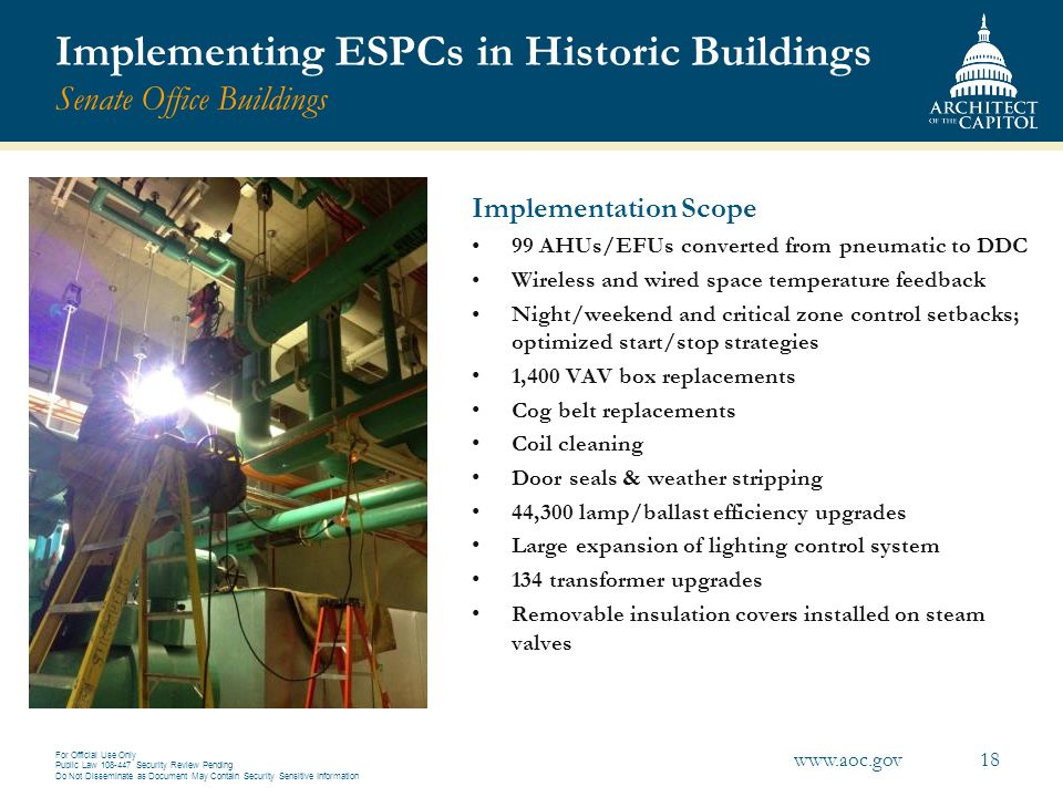 Implementing ESPCs in Historic Buildings Senate Office Buildings
