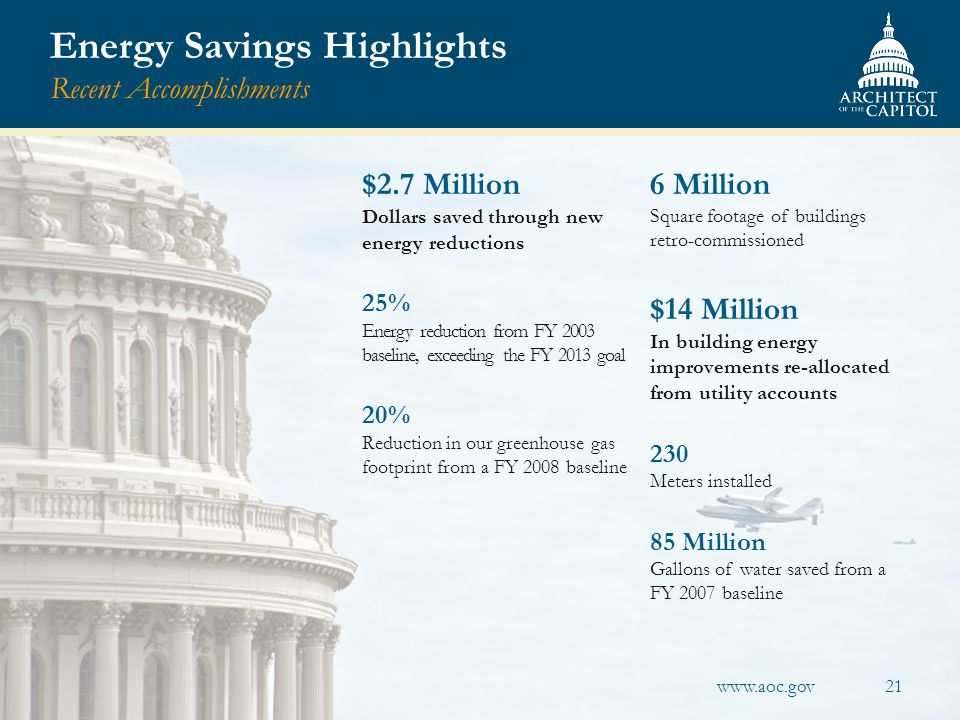 Energy Savings Highlights Recent Accomplishments