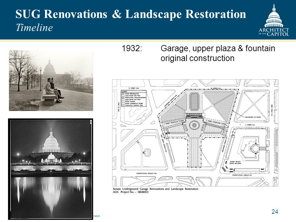 SUG Renovations & Landscape Restoration Timeline