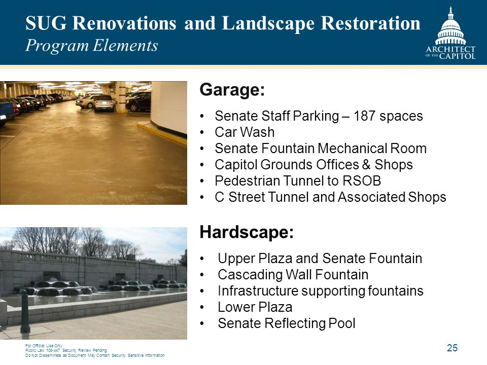 SUG Renovations and Landscape Restoration Program Elements
