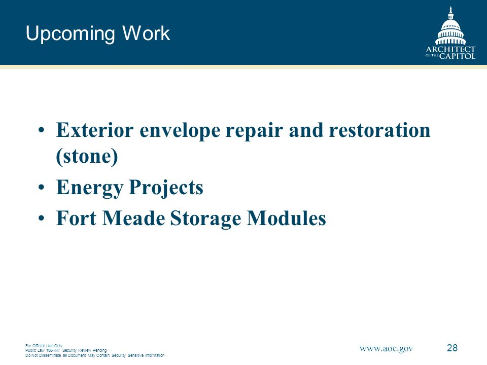Exterior envelope repair and restoration (stone) Energy Projects