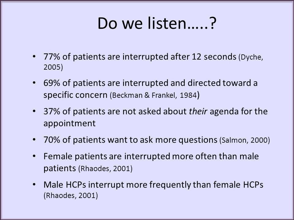 Do we listen….. 77% of patients are interrupted after 12 seconds (Dyche, 2005)