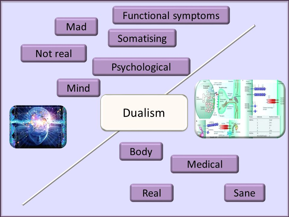 Dualism Functional symptoms Mad Somatising Not real Psychological Mind