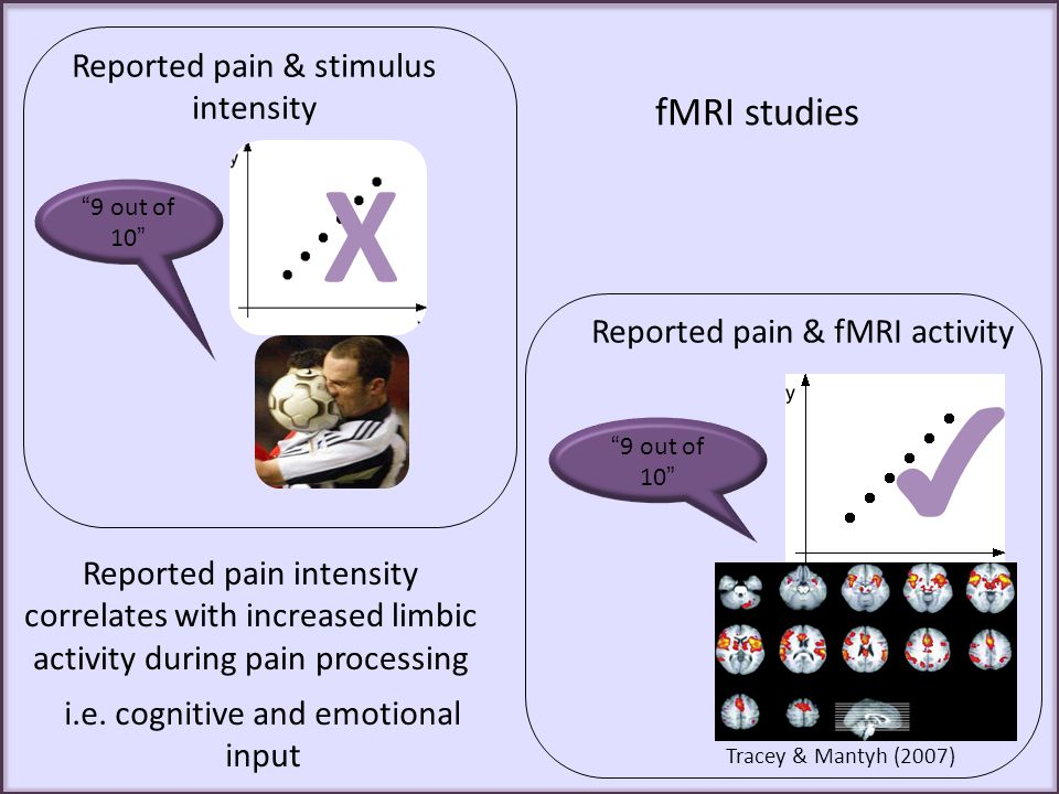X ✔ fMRI studies Reported pain & stimulus intensity