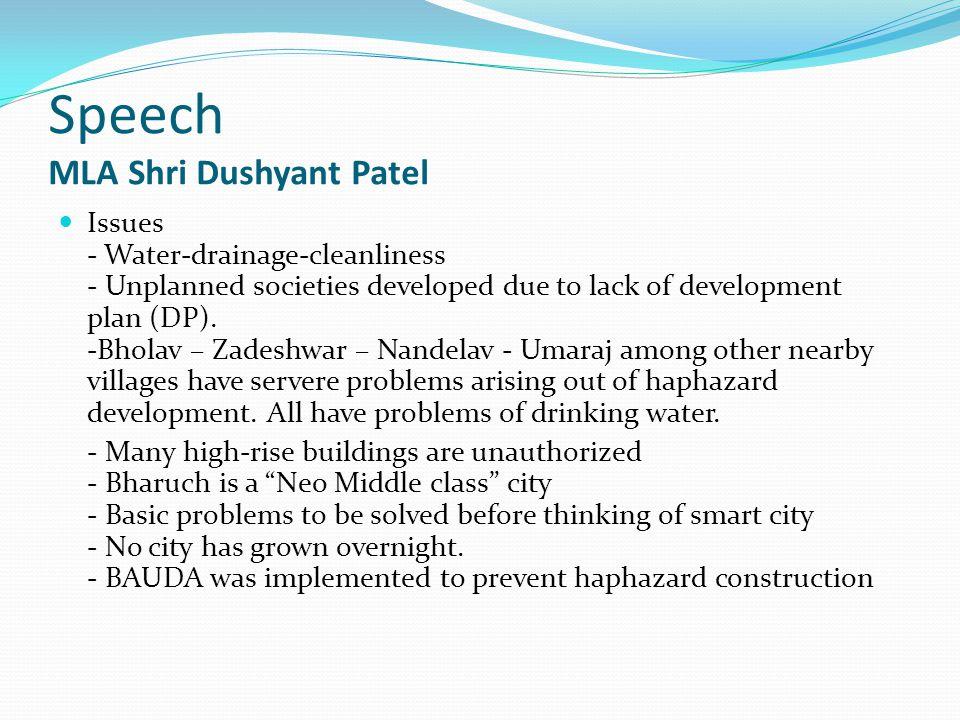Speech MLA Shri Dushyant Patel