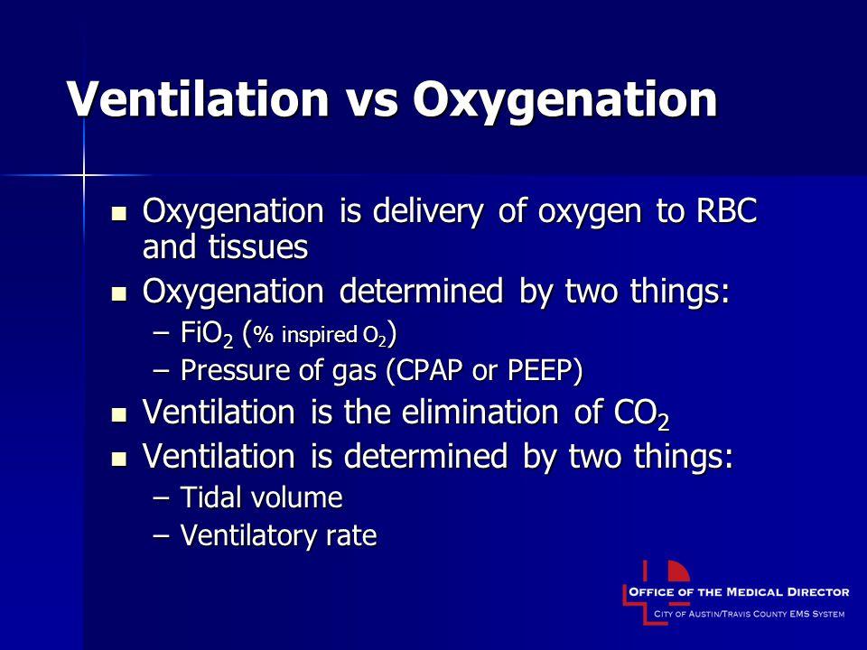 Ventilation vs Oxygenation