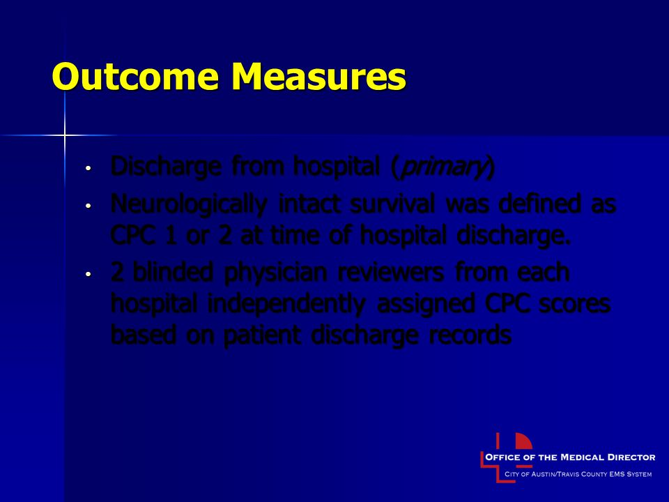 Outcome Measures Discharge from hospital (primary)
