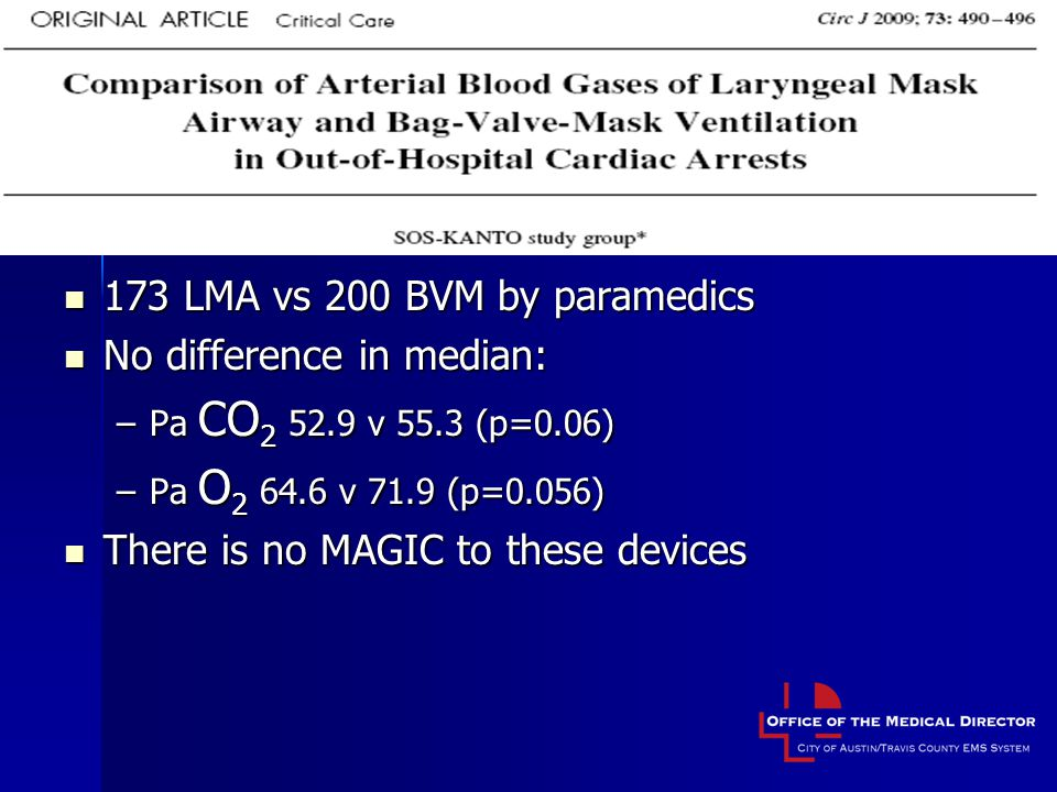 173 LMA vs 200 BVM by paramedics No difference in median: