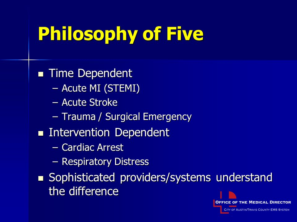 Philosophy of Five Time Dependent Intervention Dependent