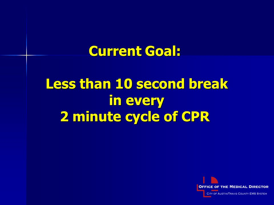 Current Goal: Less than 10 second break in every 2 minute cycle of CPR