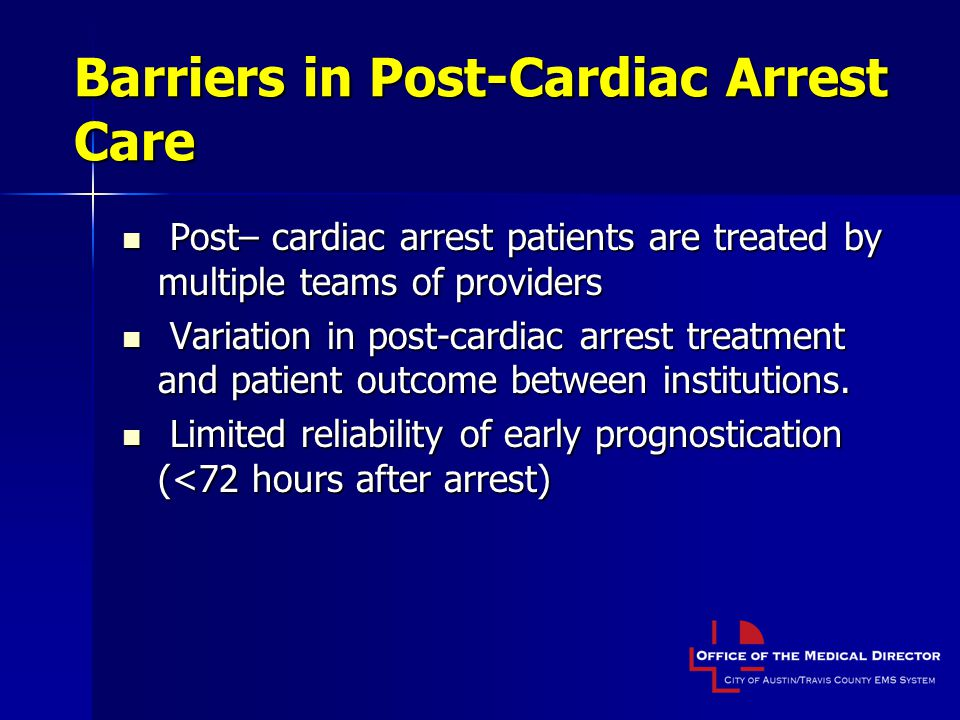 Barriers in Post-Cardiac Arrest Care