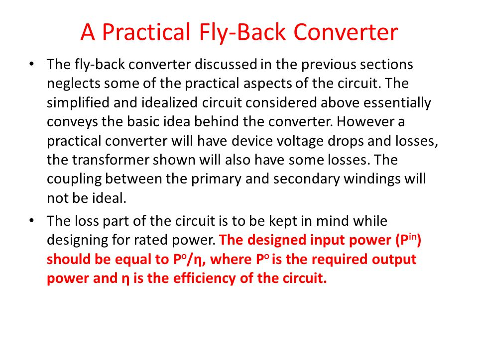 A Practical Fly-Back Converter