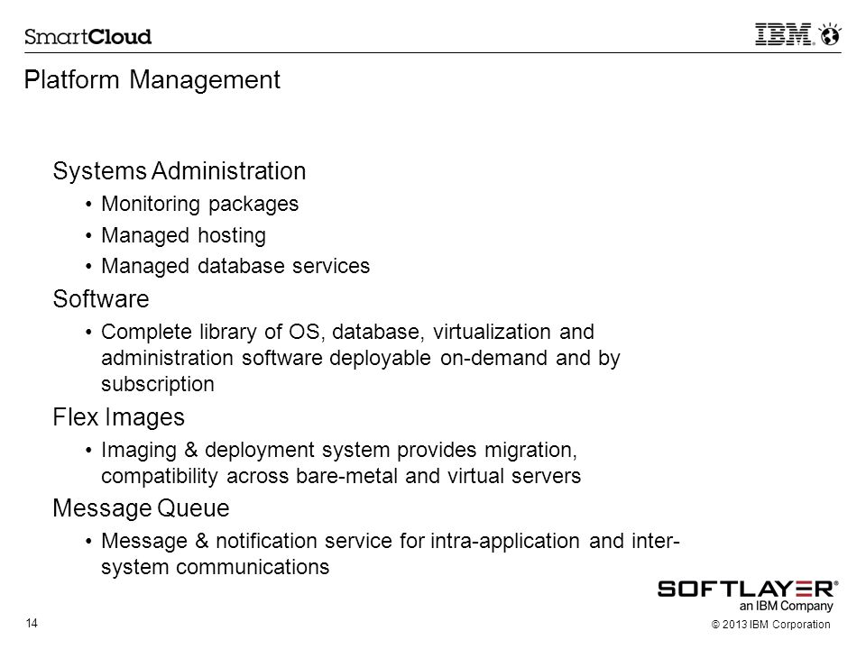 Platform Management Systems Administration Software Flex Images