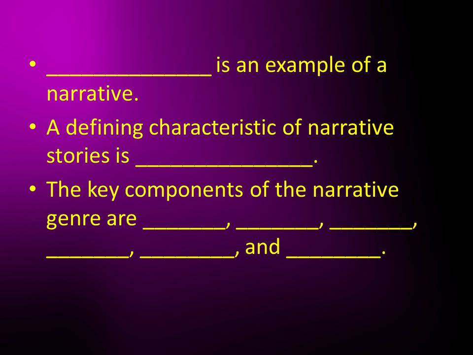 ______________ is an example of a narrative.