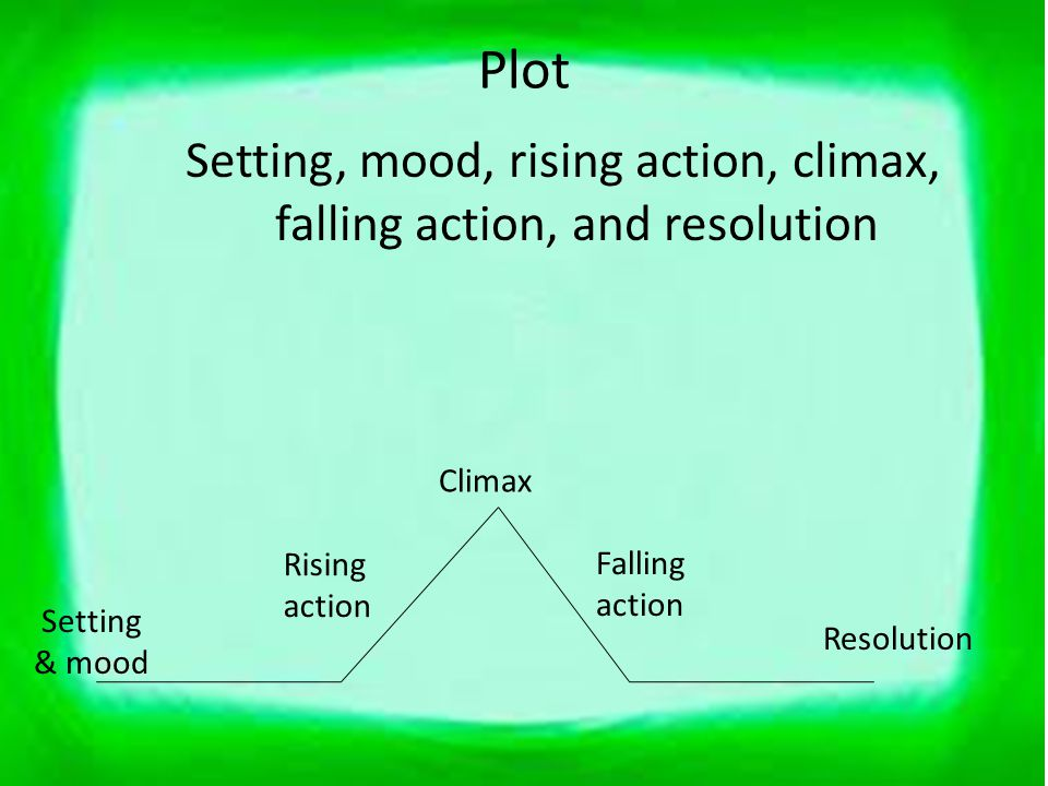 Setting, mood, rising action, climax, falling action, and resolution