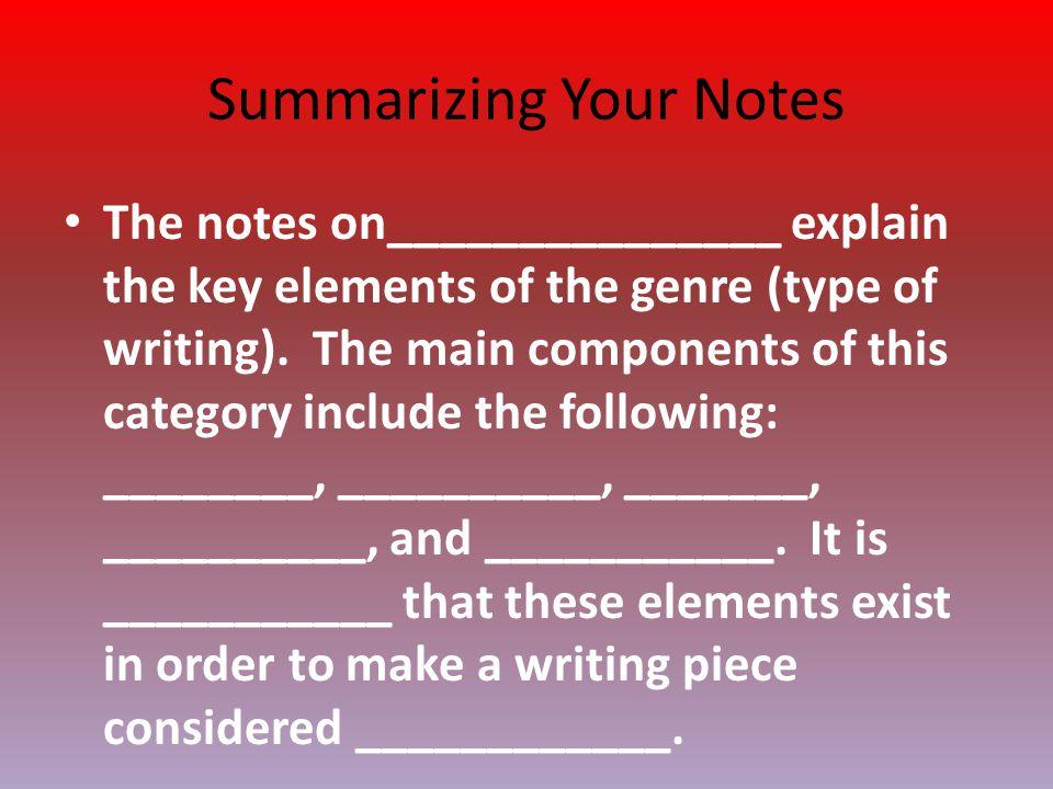 Summarizing Your Notes