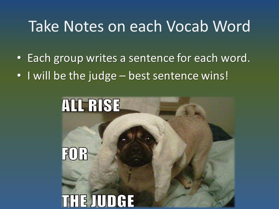 Take Notes on each Vocab Word