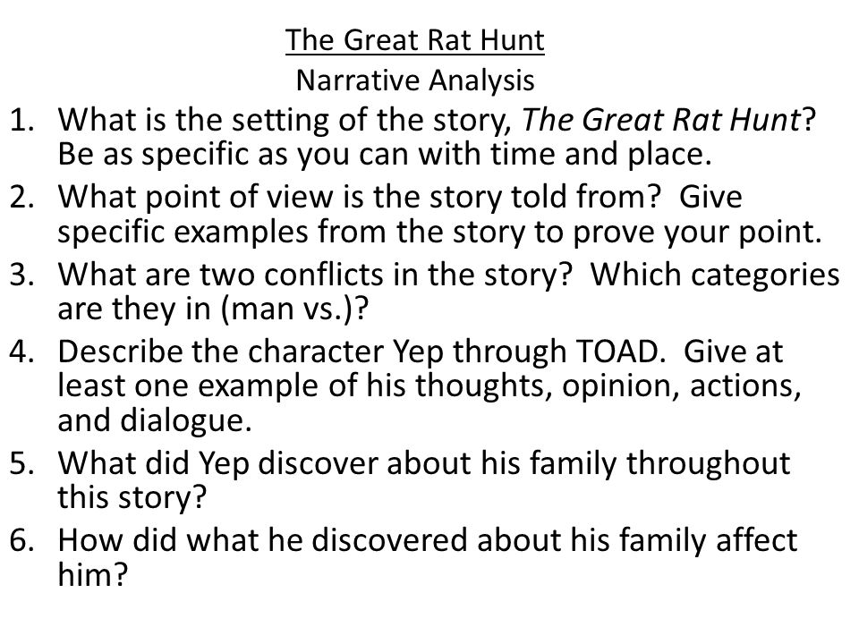 The Great Rat Hunt Narrative Analysis