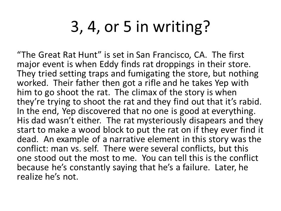 3, 4, or 5 in writing