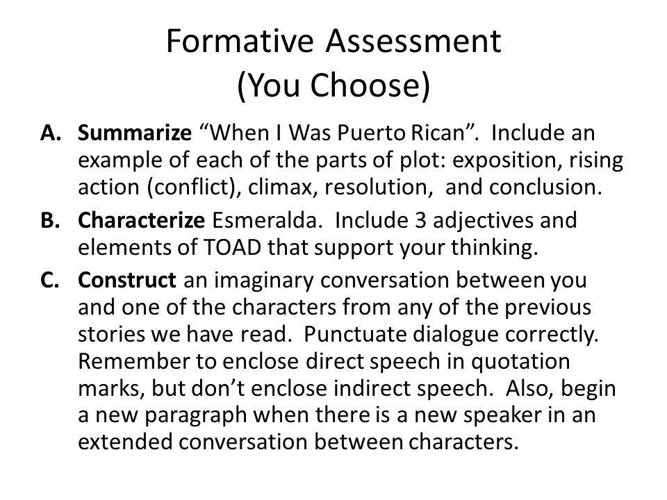Formative Assessment (You Choose)