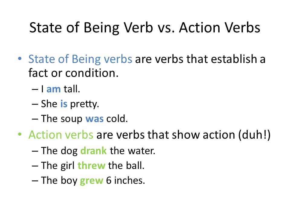 State of Being Verb vs. Action Verbs