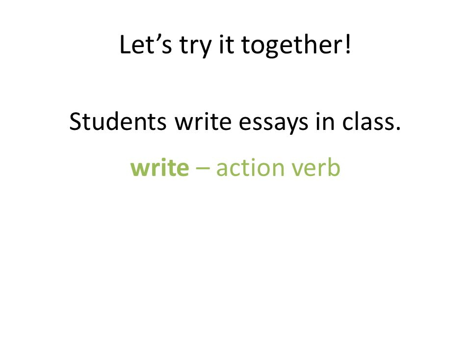 Students write essays in class.