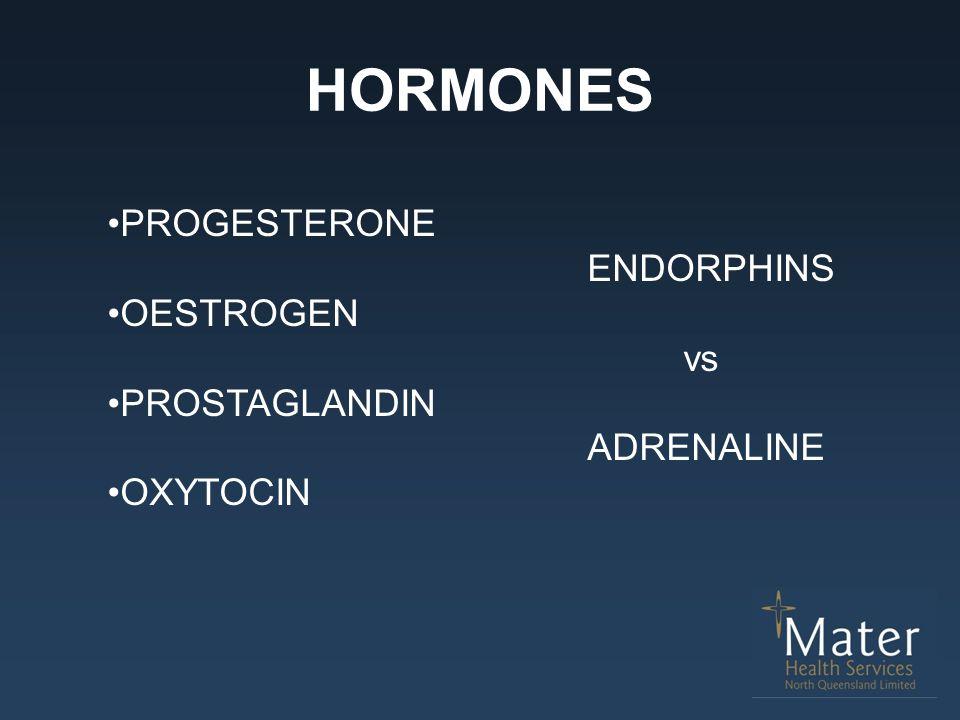 HORMONES PROGESTERONE ENDORPHINS OESTROGEN vs PROSTAGLANDIN ADRENALINE