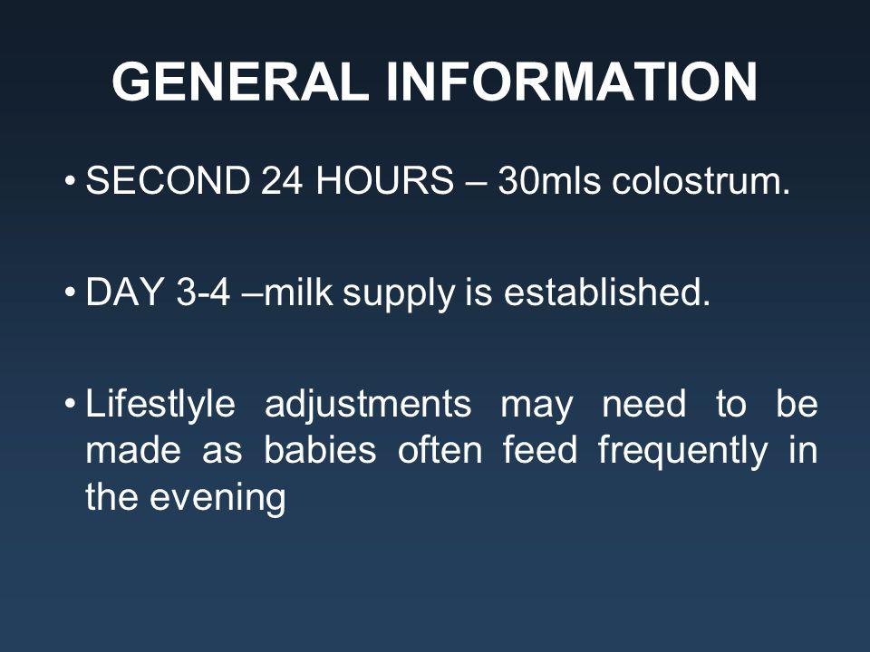 GENERAL INFORMATION SECOND 24 HOURS – 30mls colostrum.