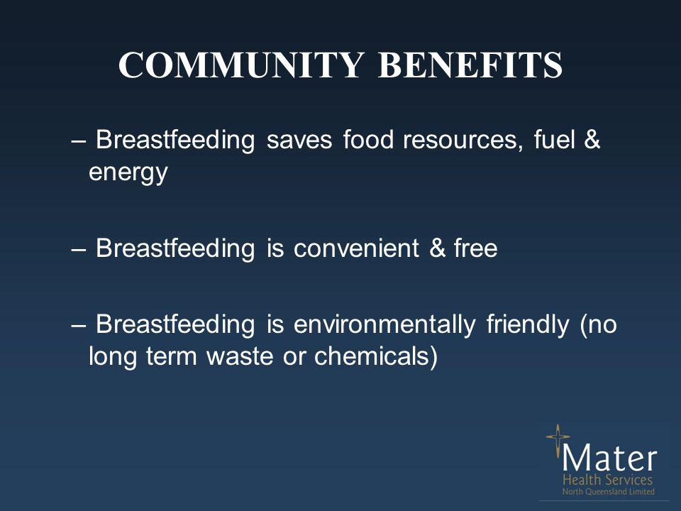 COMMUNITY BENEFITS Breastfeeding saves food resources, fuel & energy