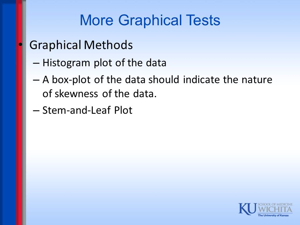 More Graphical Tests Graphical Methods Histogram plot of the data
