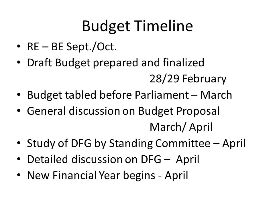 Budget Timeline RE – BE Sept./Oct. Draft Budget prepared and finalized