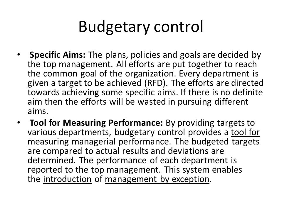 budgetry control Start studying actg chapter 8 learn vocabulary, terms, and more with flashcards, games, and other study tools what is a budget what is budgetary control.