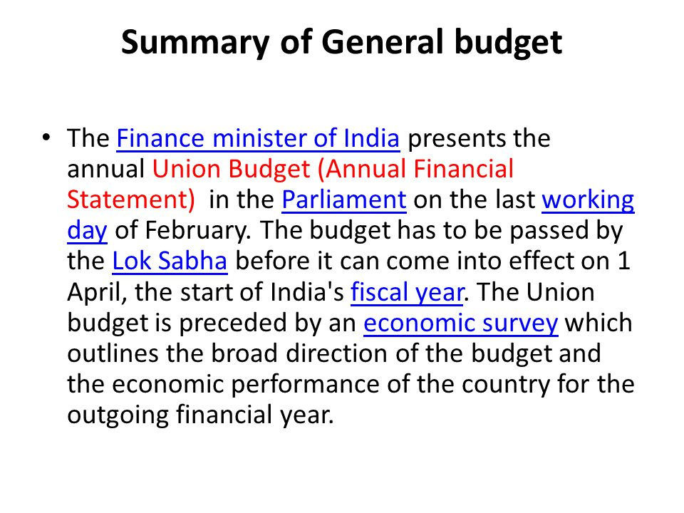 Summary of General budget