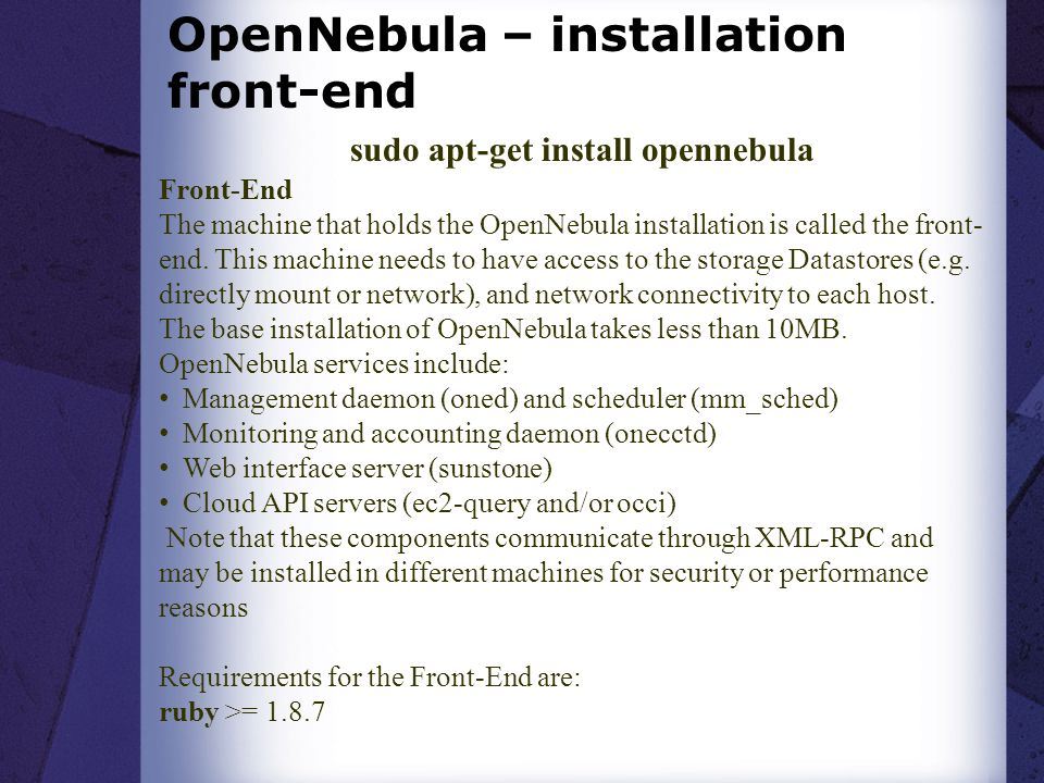 OpenNebula – installation front-end
