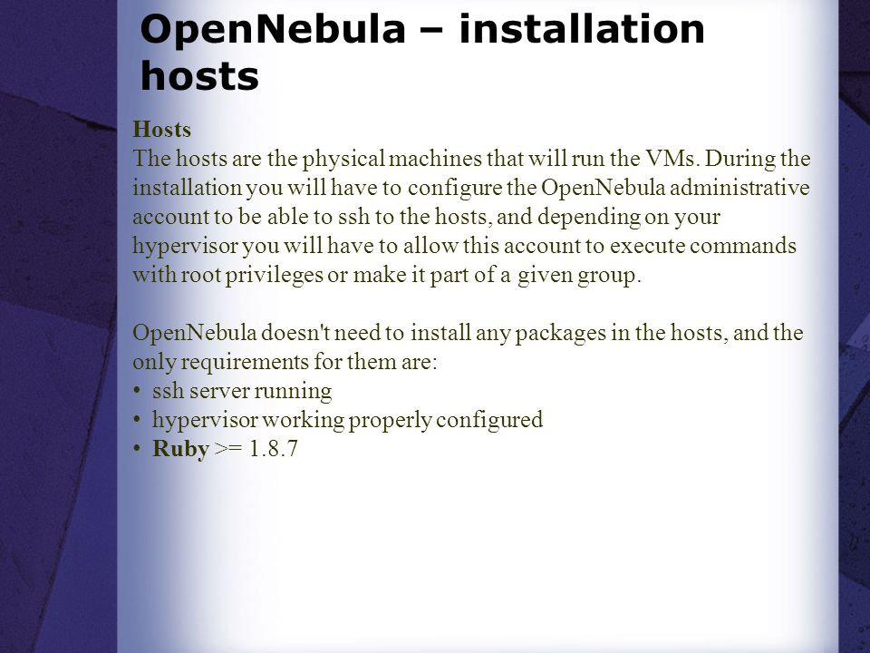 OpenNebula – installation hosts