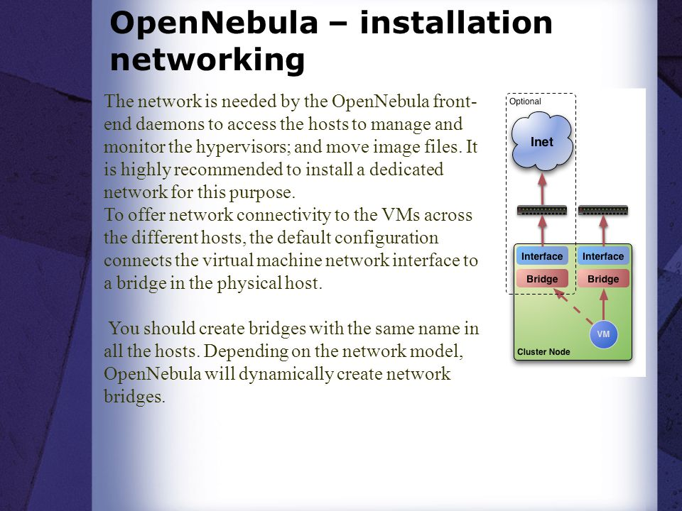OpenNebula – installation networking