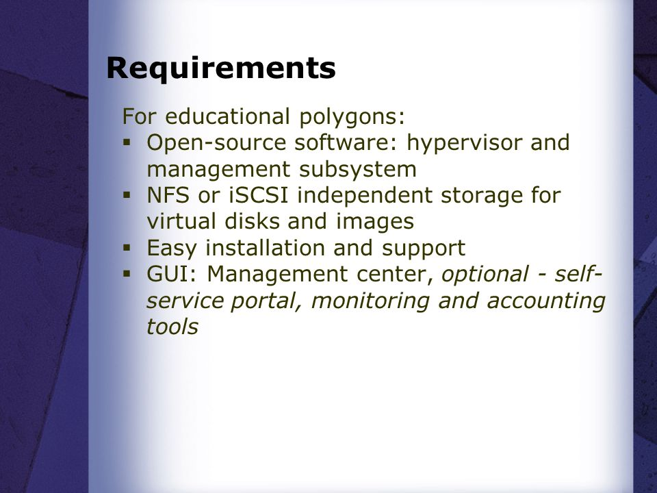 Requirements For educational polygons: