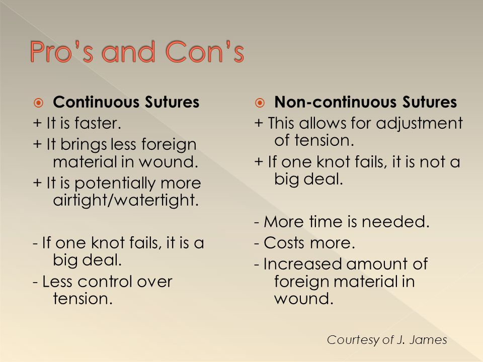 Pro's and Con's Continuous Sutures + It is faster.