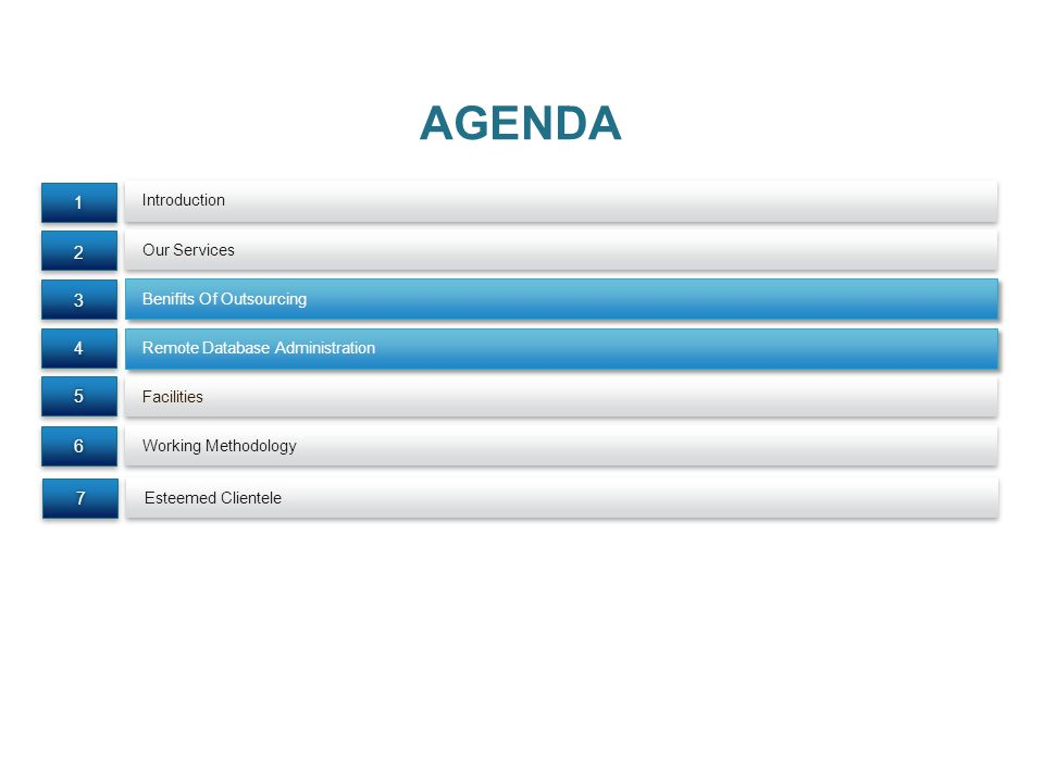 AGENDA 1 2 3 4 5 6 7 Introduction Our Services Benifits Of Outsourcing